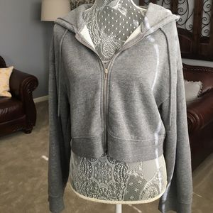 forever 21 gray cropped zip-up hoodie